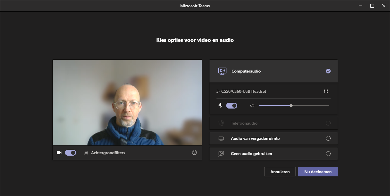 Microsoft Teams achtergrondfilter