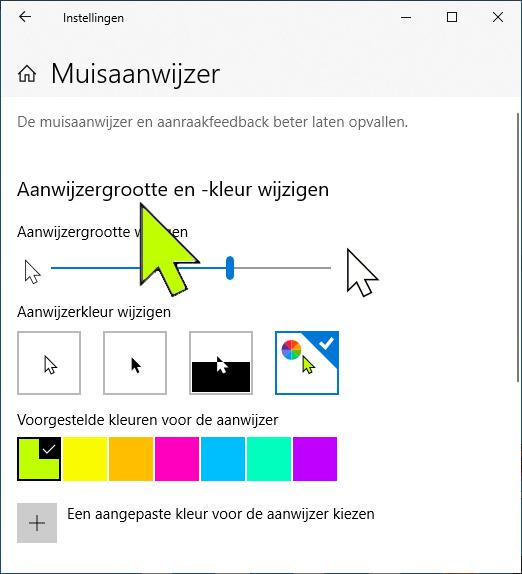 Windows 10 muisaanwijzer aanpassen kleur grootte