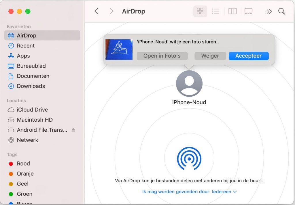 AirDrop bestanden delen macos