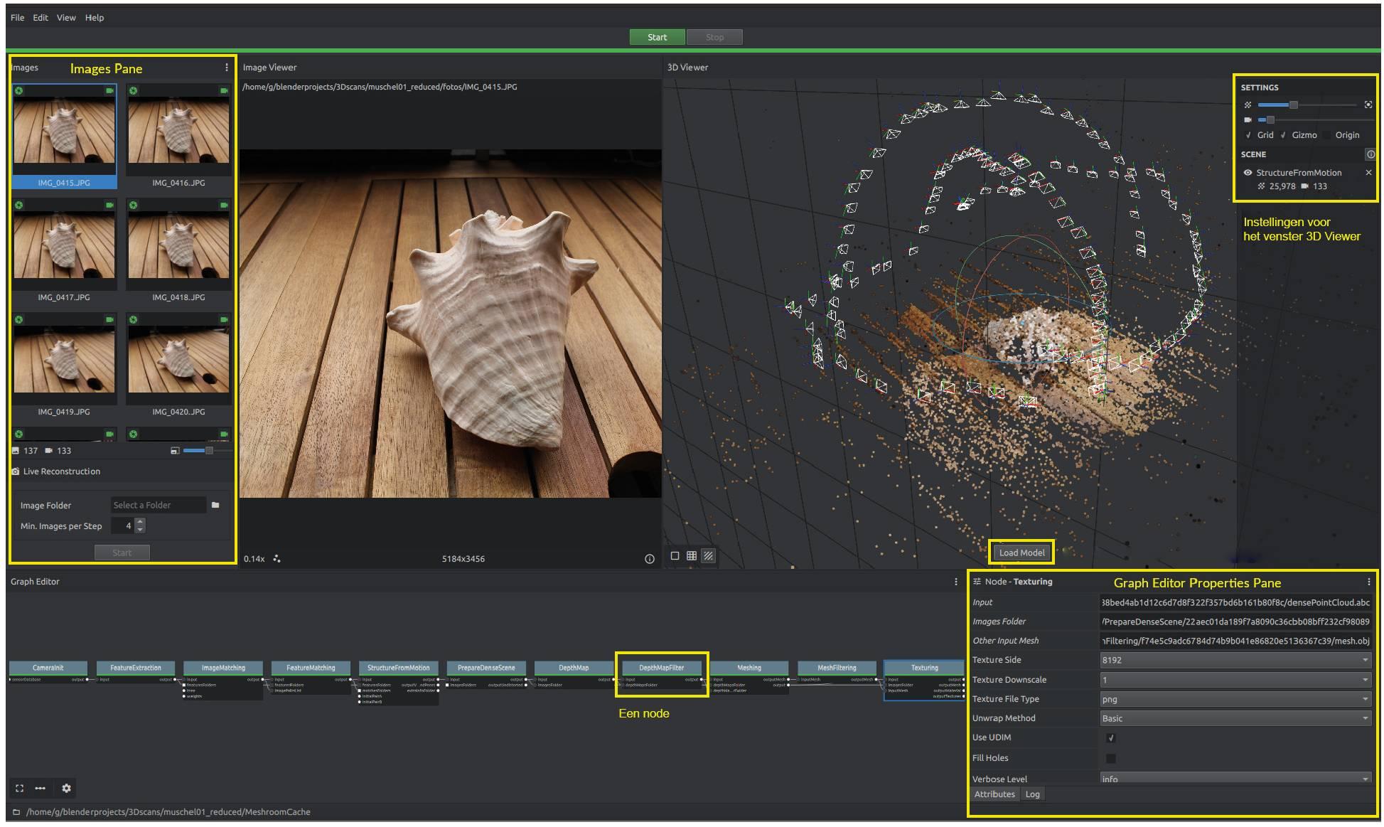 Meshroom interface 3D-model maken