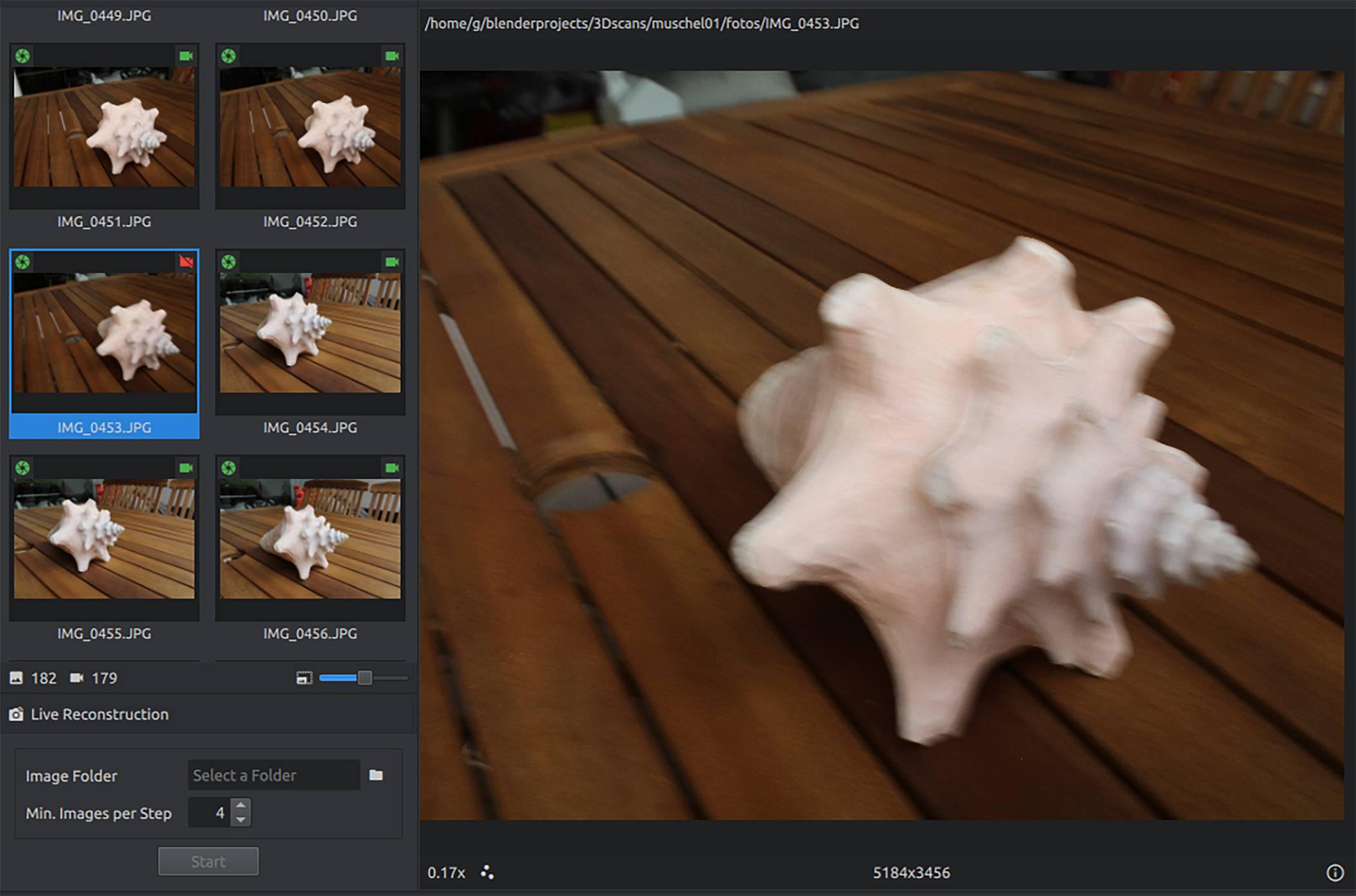 mislukte foto 3D-model Meshroom