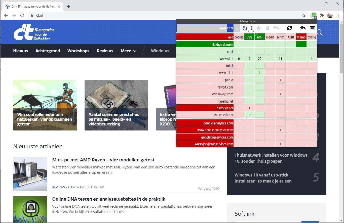 uMatrix website inhoud blokkeren extensie