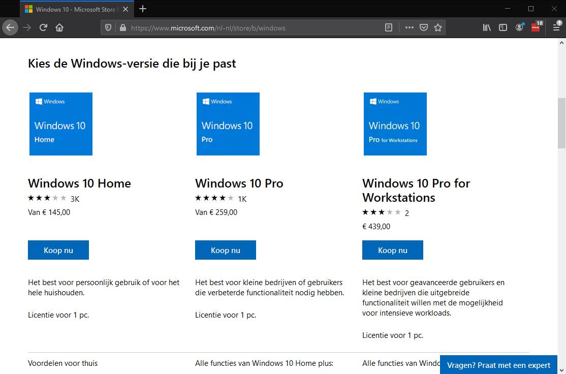 Windows kopen bij Microsoft