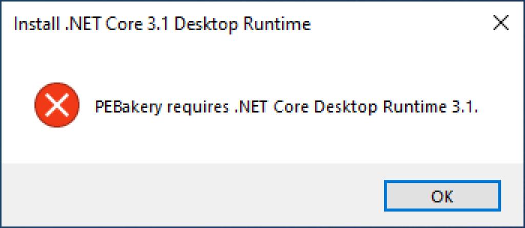 PEBakery .NET foutmelding Runtime 3.1
