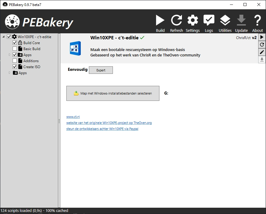 usb-stick maken ct-rescue PEBakery map Windows installatiebestanden selecteren