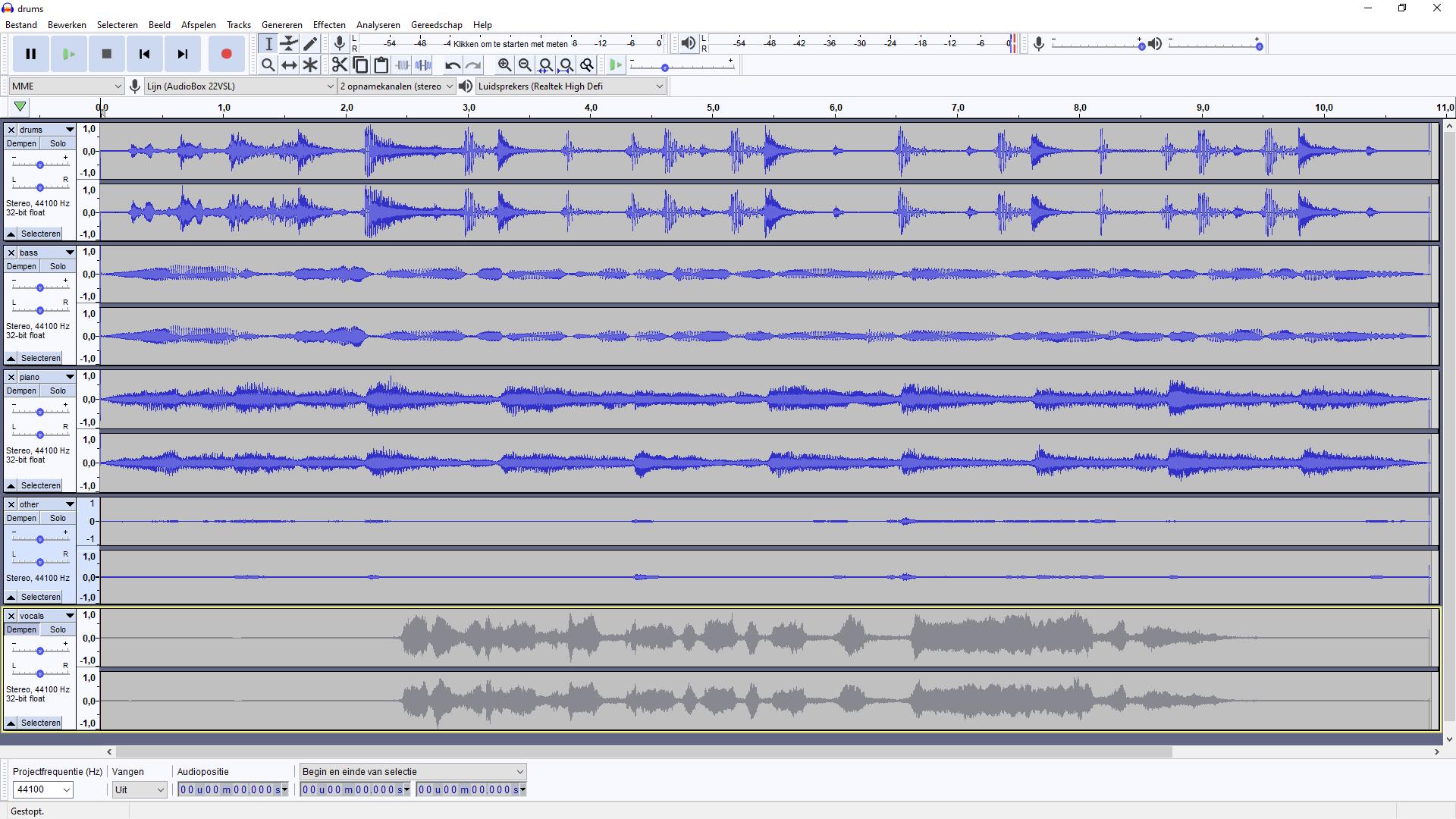 et Audacity kun je losse sporen openen en weer samenvoegen tot één muzieknummer.
