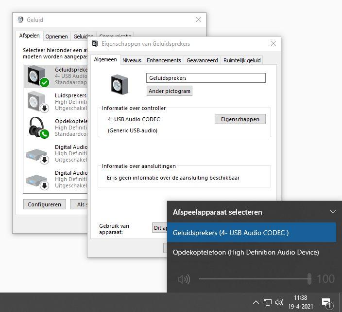 Windows 10 geluid afspelen apparaat kiezen menu aanpassen