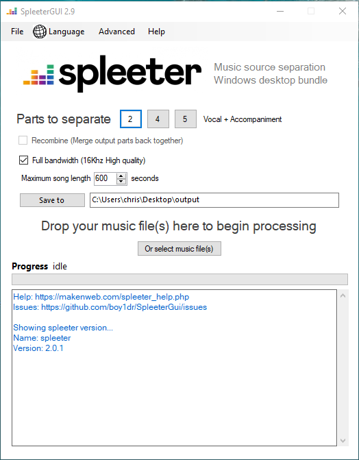 karaoke versie maken Spleeter GUI