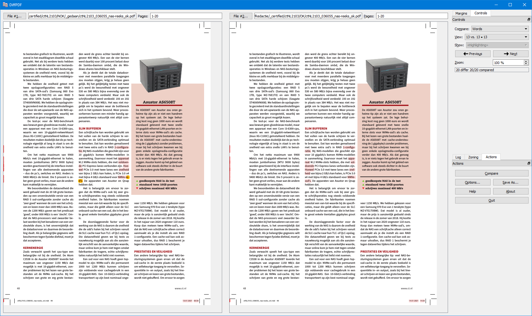 DiffPDF pdf vergelijken gratis software