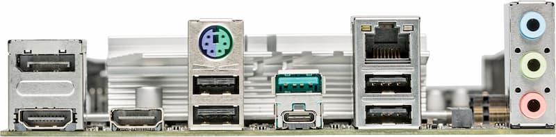 Asus Prime B560M-A moederbord aansluitingen achterkant backplate