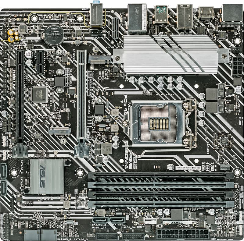 Asus Prime B560M-A moederbord lay-out