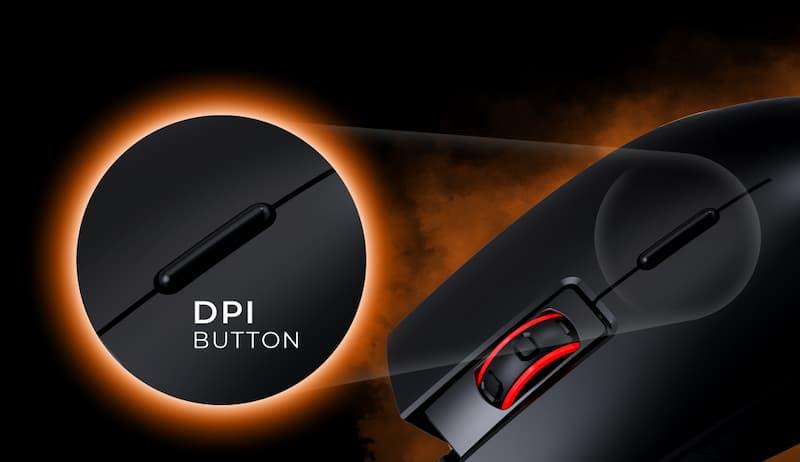 DPI knop op muis bij muiswiel wieltje