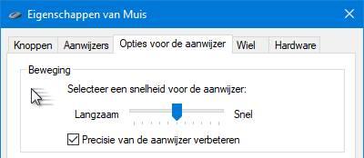 Eigenschappen van muis Windows 10 versnelling muisaanwijzer dynamisch precisie