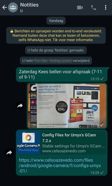 WhatsApp naar jezelf sturen als notitie
