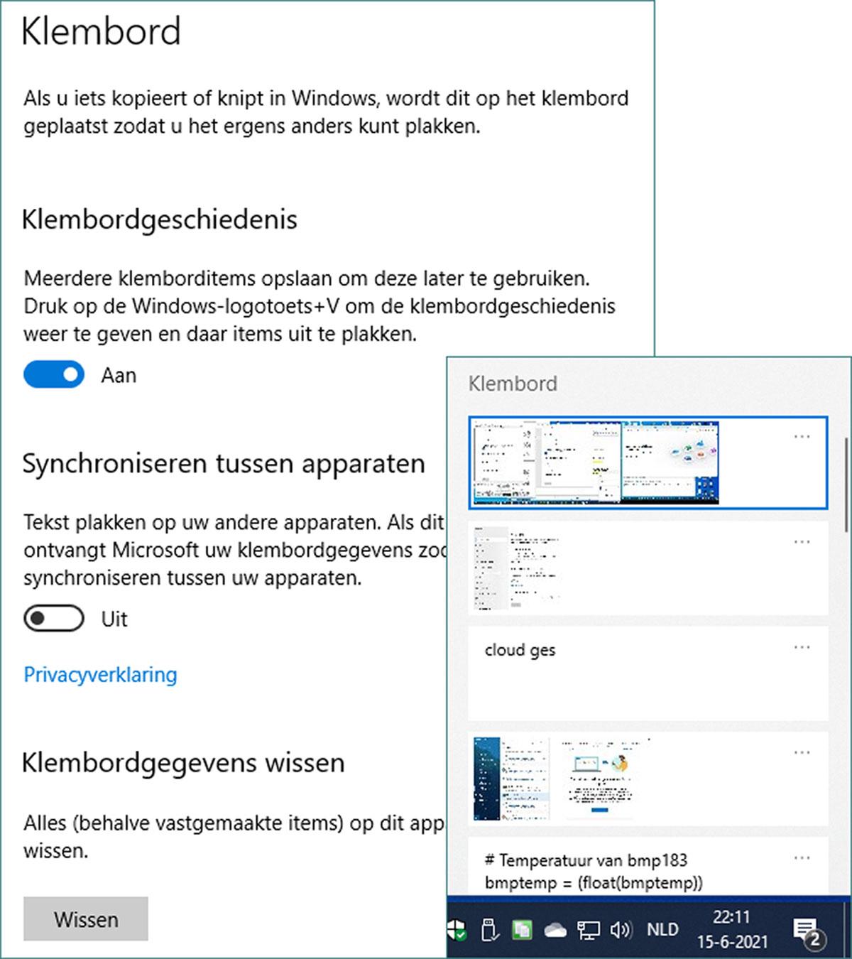 Microsoftaccount klembord
