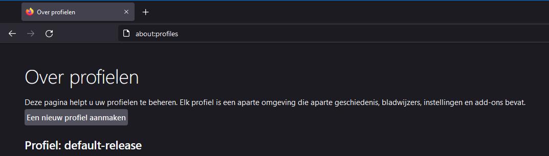 Firefox nieuw profiel maken