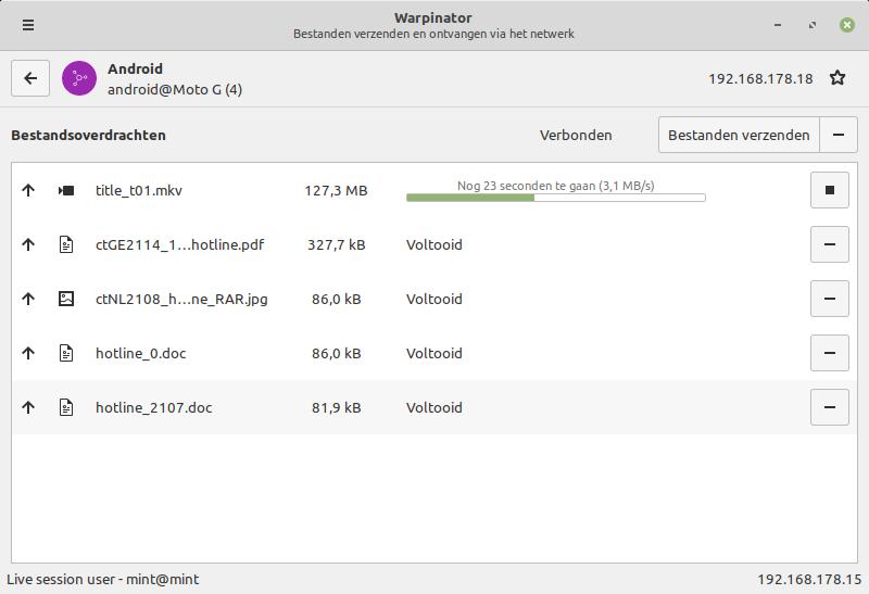 Warpinator linux android filetransfer