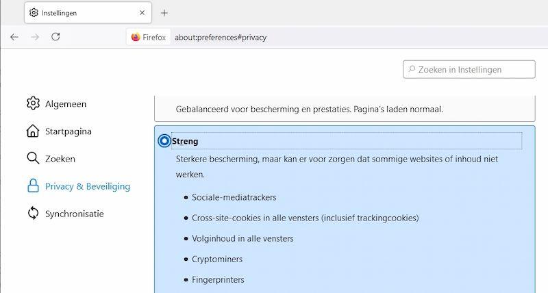 strenge bescherming in Firefox