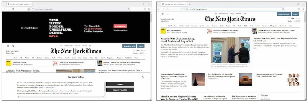 website zonder reclame en cookiebanner - Firefox zonder en met deze workshop (klein)